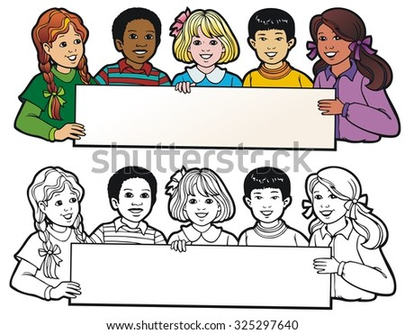 A group of children of mixed ethnic or cultural backgrounds, holding a banner. - stock vector