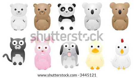 A group of cute vector illustration animals - stock vector
