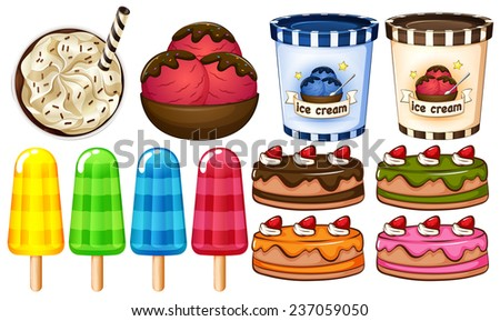 A group of desserts on a white background - stock vector