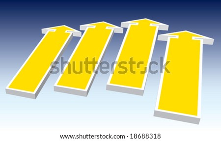 A group of direction signs good for message and price.