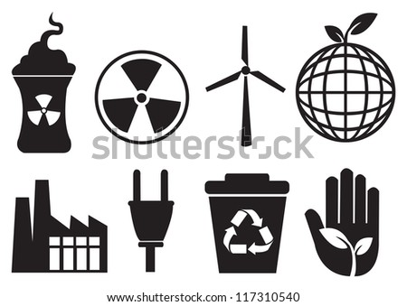 A group of Environmental icons in black. Vector illustration. - stock vector