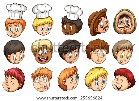 A group of faces showing different expressions on a white background - stock vector