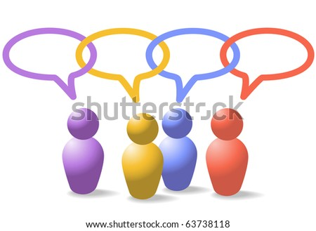 A group of four people symbols talk in social media speech bubbles which form a network link chain - stock vector