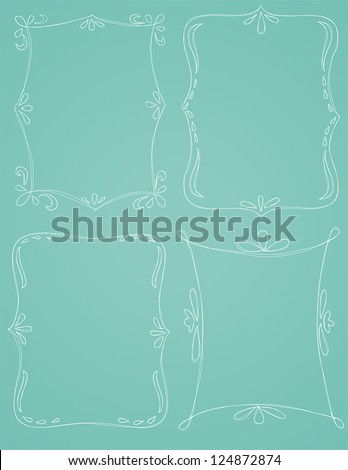 A group of four vector hand drawn borders are shown on a blue background. - stock vector