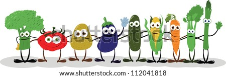 a group of funny vegetables embracing - stock vector