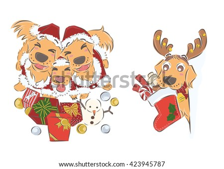 a group of golden retriever wearing santa claus suit with presents and a golden retriever holding santa's sock filled with candies