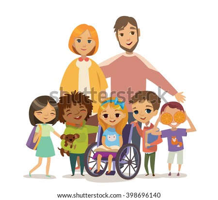 A Group of Happy Children and Tutors with books. Caring for the disabled child concept. Learning and playing together. Handicapped Kid. Vector. Isolated.  - stock vector