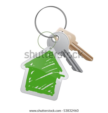 A group of keys with a cottage trinket