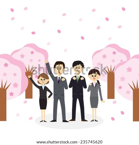 A group of newbie employees standing on a street lined with cherry blossom trees, vector illustration - stock vector