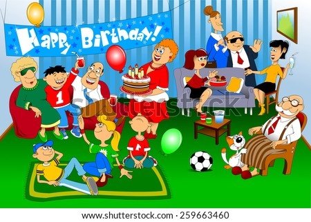A group of people came to congratulate the little boy on his birthday; birthday - stock vector