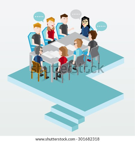 A group of people having discussion vector design - stock vector