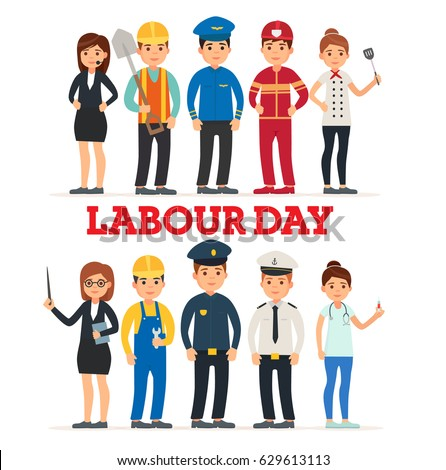 A Group Of People Of Different Professions. Set of occupations. Labour Day On 1 May. Logo. Emblem. Banner. Labor day. Vector images in cartoon style