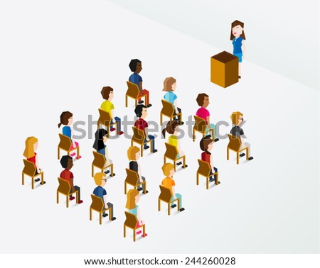 A Group of People Sitting on the Chair Vector Illustration - stock vector