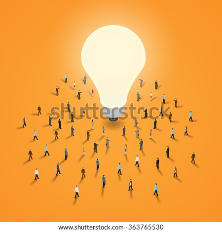 A group of people walking to a light bulb. It 's a brainstorm, inspiration, idea business concept. Isometric illustration vector EPS 10. - stock vector