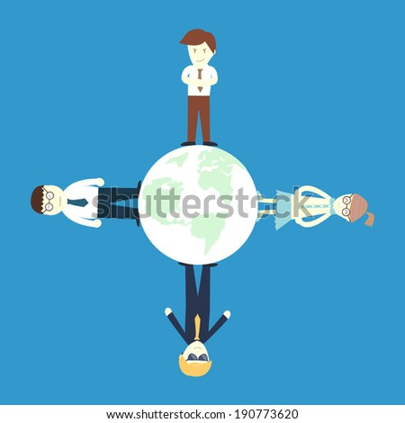 A group of salary man and businesswomen stand on the globe : world wide concept - stock vector