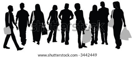 A group of silhouette of people walking on street - stock vector