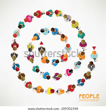 A group of social people gather together vector design - stock vector