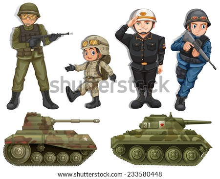 A group of soldiers with tanks on a white background  - stock vector