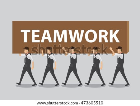 A group of workers working together to transport a text block that says Teamwork. Cartoon vector illustration on team work concept isolated on plain background.