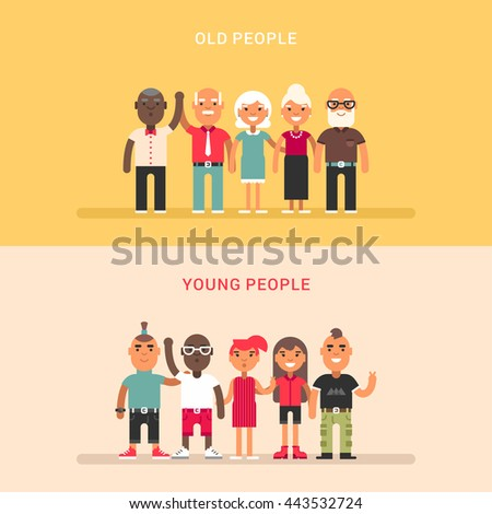 A group of young and a group of elderly people. Two horizontal flat vector illustrations. - stock vector