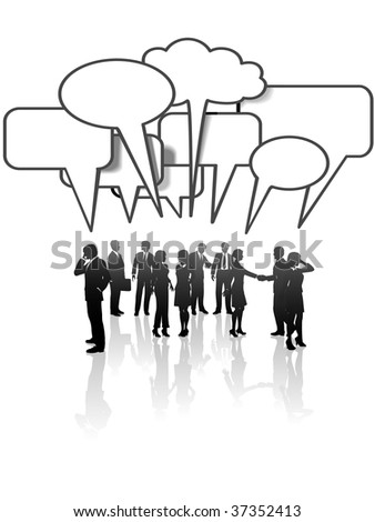 A group or team of business people talk and interact in many speech bubbles. - stock vector