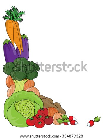 A grouping of vegetables as a frame or border - stock vector