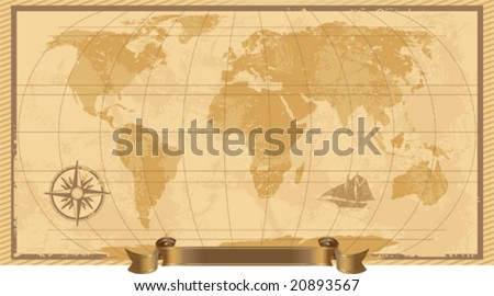 A grunge, rustic world map, vector illustration - stock vector