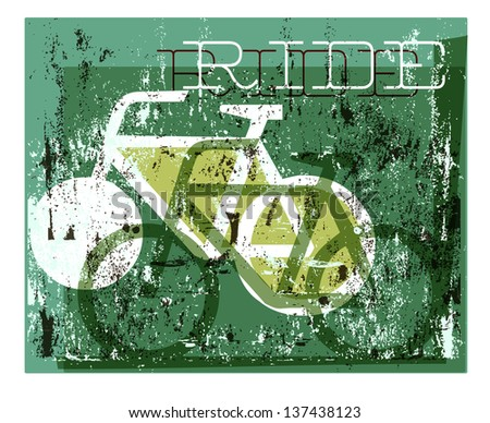 A grunge style cycling graphic