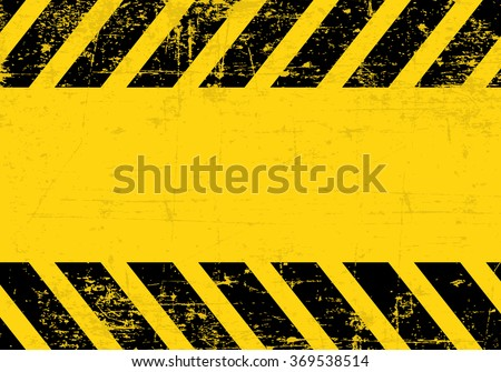 A grungy and worn hazard stripes texture. - stock vector