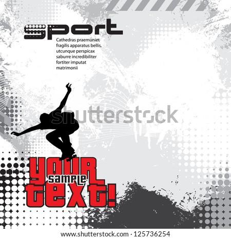 A grungy skateboarding layout - stock vector