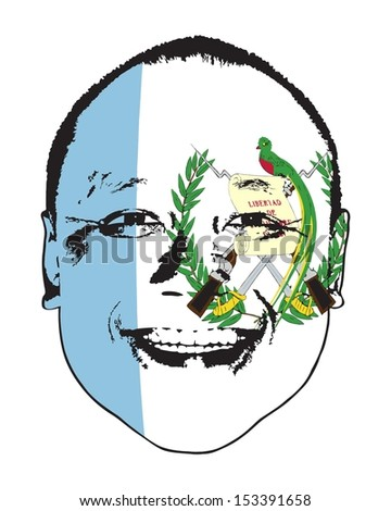 A Guatemala flag on a face, isolated against white.  - stock vector