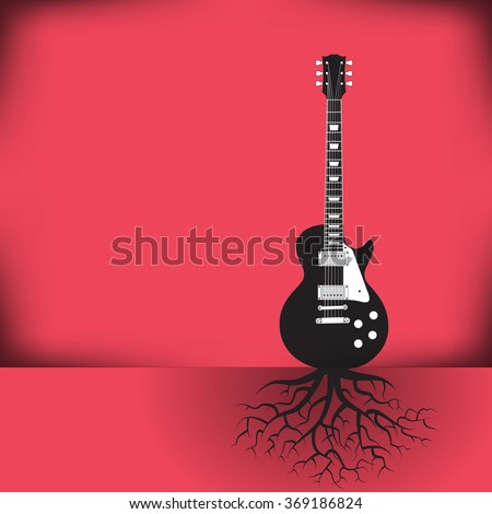A guitar as a tree with roots background with space for your text  - stock vector