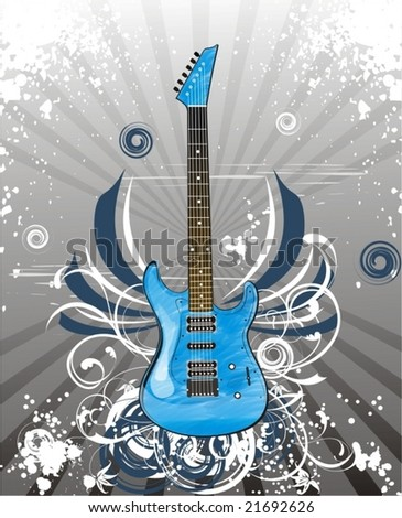 a guitar over grunge floral background - stock vector