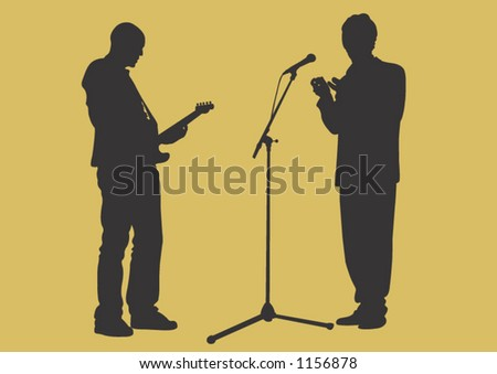 A guitar player and a singer