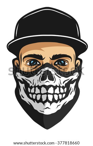 A guy in a baseball cap, and a bandana with a skull pattern. - stock vector