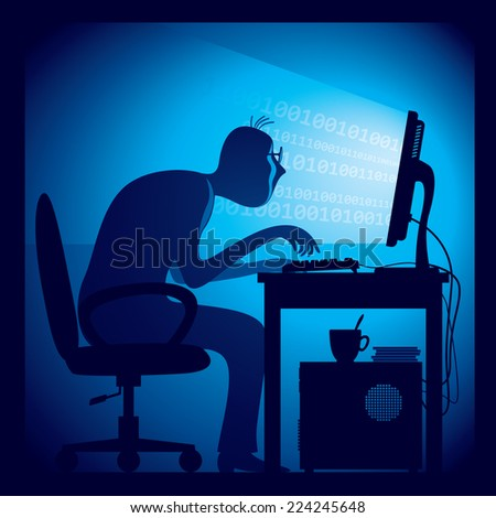 A hacker in a dark room sitting in front of a computer screen.  Eps8 CMYK Organized by layers. Global colors. Gradients used. - stock vector