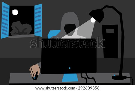 A hacker in his room at night, he wears a hoodie, he sits in front of a computer with a lamp lighted over his head. behind him, through the open window, you can see the moon shines above a tree. - stock vector