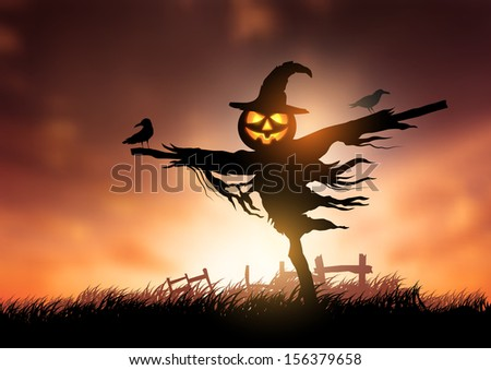 A halloween Scarecrow with a Jack O Lantern head. - stock vector