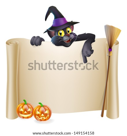 A Halloween scroll sign with a cat character above the banner, pumpkins and witch's hat and broomstick - stock vector