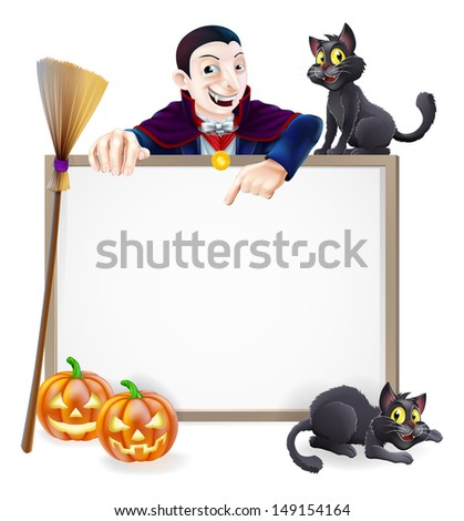 A Halloween sign with a classic Dracula vampire character pointing down and witch's black cats, broomstick and Halloween carved orange pumpkins - stock vector