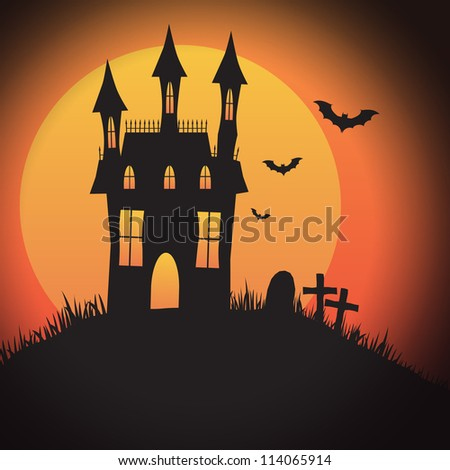 A Halloween spooky house design with copyspace - perfect for Halloween party invitations, backgrounds or icons with or without text.