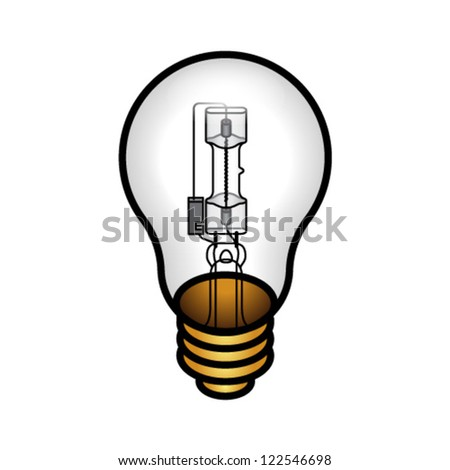 A halogen bulb in a traditional incandescent light bulb form factor. - stock vector
