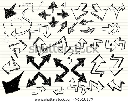 a hand drawn arrows set - stock vector