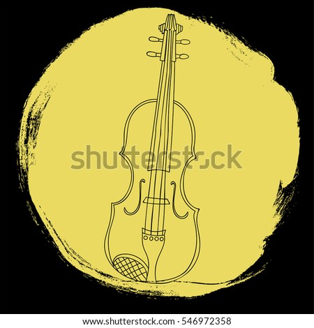 a hand drawn vector illustration of a violin on yellow grunge circle background