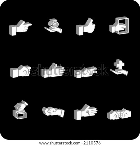 A hand elements icon set - stock vector