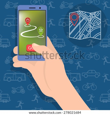 A hand holding a smartphone. The concept of choice of transport from home to work. On foot, by car or on public transport.  - stock vector