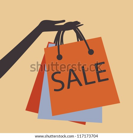 A hand holding shopping bags to promote sales - stock vector