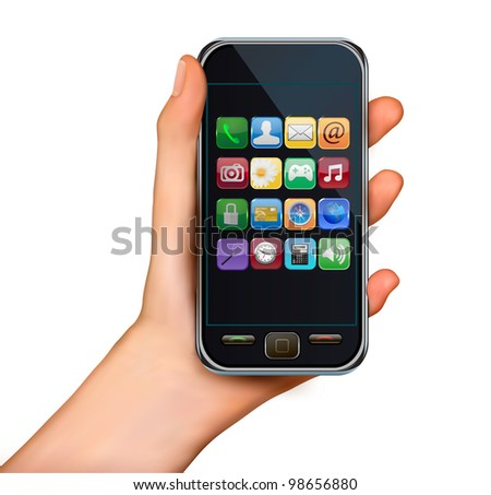 A hand holding touchscreen mobile phone with icons. Vector. - stock vector