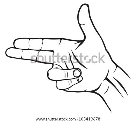 A hand making a shape of a pointed hand gun - stock vector