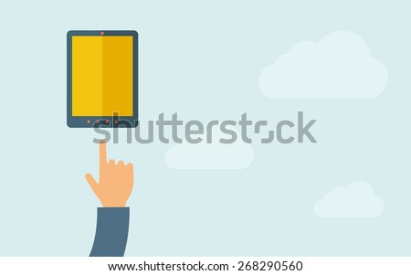 A hand pointing mobile phone with blank screen. A contemporary style with pastel palette, light blue cloudy sky background. Vector flat design illustration. Horizontal layout with text space on right - stock vector